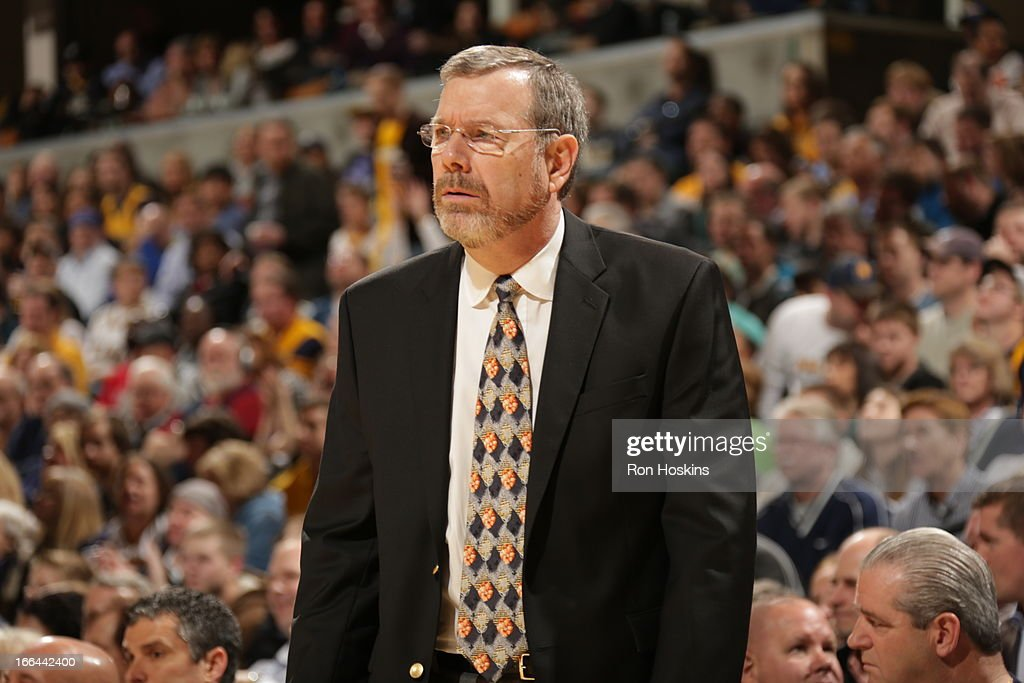 <a gi-track='captionPersonalityLinkClicked' href=/galleries/search?phrase=P.J.+Carlesimo&family=editorial&specificpeople=243247 ng-click='$event.stopPropagation()'>P.J. Carlesimo</a> Head Coach of the Brooklyn Nets looks on against the Indiana Pacers on April 12, 2013 at Bankers Life Fieldhouse in Indianapolis, Indiana.