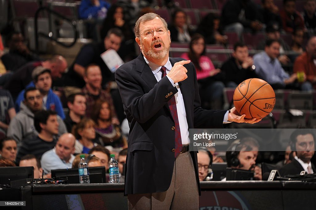 P.J. Carlesimo, Head Coach of the Brooklyn Nets, reacts during the game against the Detroit Pistons on March 18, 2013 at The Palace of Auburn Hills in Auburn Hills, Michigan.