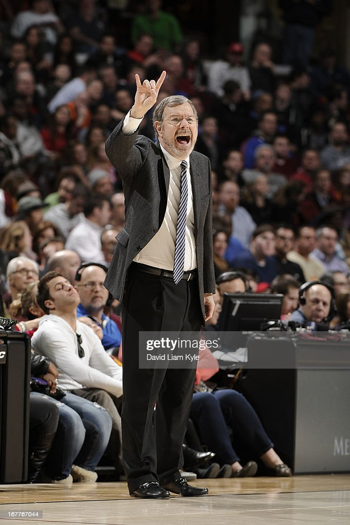 <a gi-track='captionPersonalityLinkClicked' href=/galleries/search?phrase=P.J.+Carlesimo&family=editorial&specificpeople=243247 ng-click='$event.stopPropagation()'>P.J. Carlesimo</a> of the Brooklyn Nets calls a play during the game against the Cleveland Cavaliers at The Quicken Loans Arena on April 3, 2013 in Cleveland, Ohio.