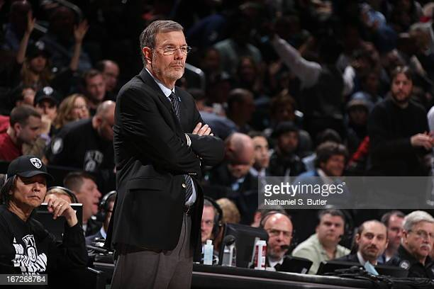 J Carlesimo of the Brooklyn Nets during the game against the Chicago Bulls in Game Two of the Eastern Conference Quarterfinals during the 2013 NBA...