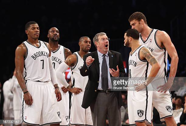 J Carlesimo of the Brooklyn Nets gives his players during Game Two of the Eastern Conference Quarterfinals of the 2013 NBA Playoffs at the Barclays...