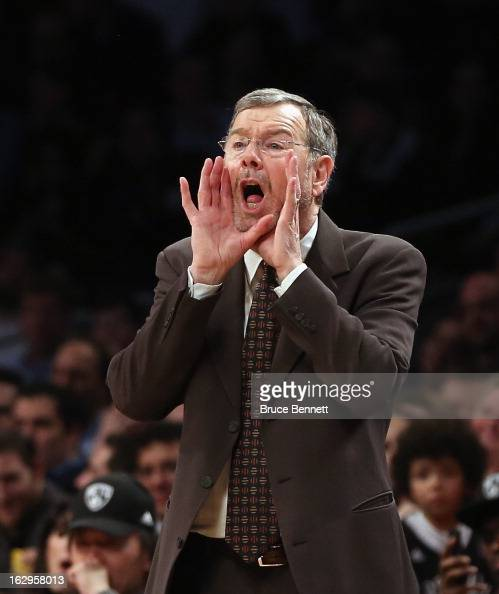 J Carlesimo of the Brooklyn Nets gives players instructions during the game against the Dallas Mavericks at the Barclays Center on March 1 2013 in...