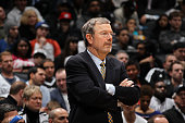 J Carlesimo of the Brooklyn Nets looks on as his team plays against the Orlando Magic on January 28 2013 at the Barclays Center in the Brooklyn...