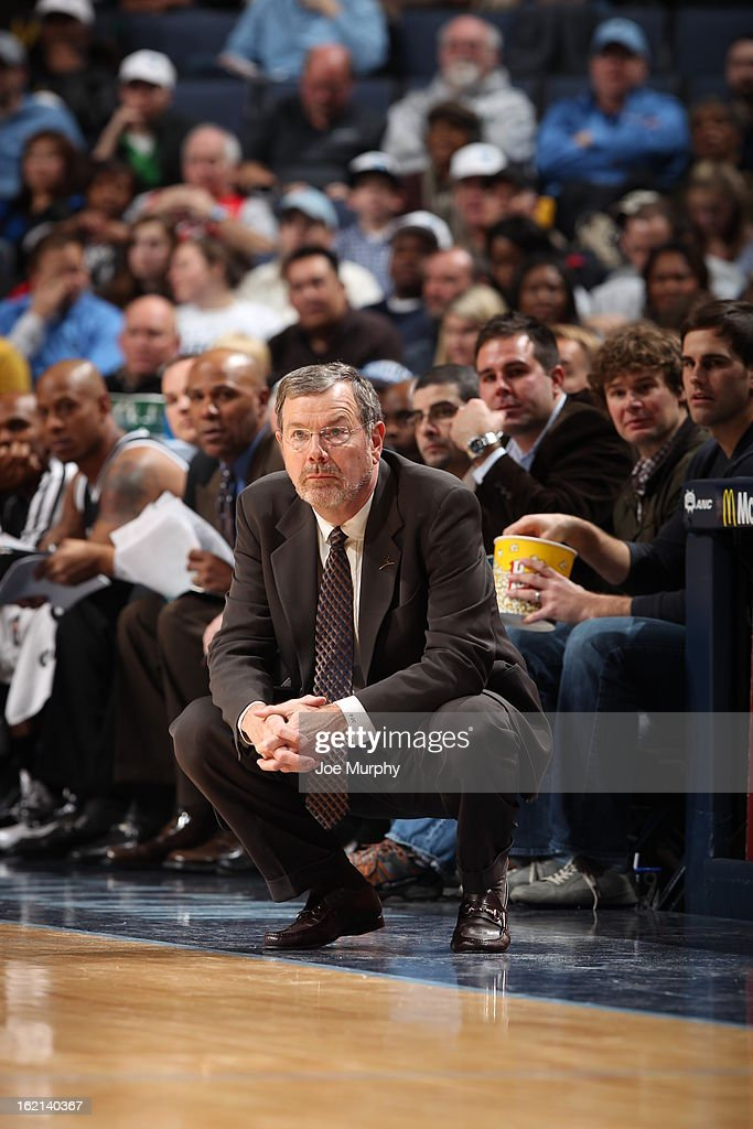 <a gi-track='captionPersonalityLinkClicked' href=/galleries/search?phrase=P.J.+Carlesimo&family=editorial&specificpeople=243247 ng-click='$event.stopPropagation()'>P.J. Carlesimo</a> of the Brooklyn Nets looks on during the game against the Memphis Grizzlies on January 25, 2013 at FedExForum in Memphis, Tennessee.