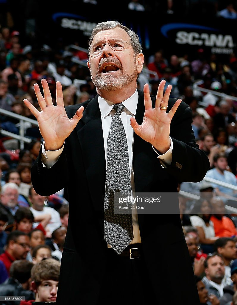 P.J. Carlesimo of the Brooklyn Nets reacts to a call by the referees against the Atlanta Hawks at Philips Arena on March 9, 2013 in Atlanta, Georgia.