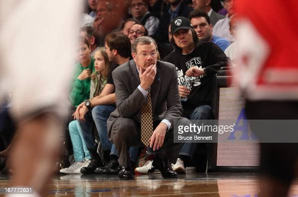 J Carlesimo of the Brooklyn Nets watches play against the Chicago Bulls during Game Five of the Eastern Conference Quarterfinals of the 2013 NBA...