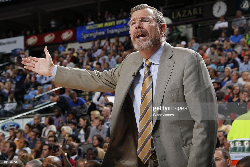 P.J. Carlesimo of the Brooklyn Nets yells from the bench against the Dallas Mavericks on March 20, 2013 at the American Airlines Center in Dallas, Texas.