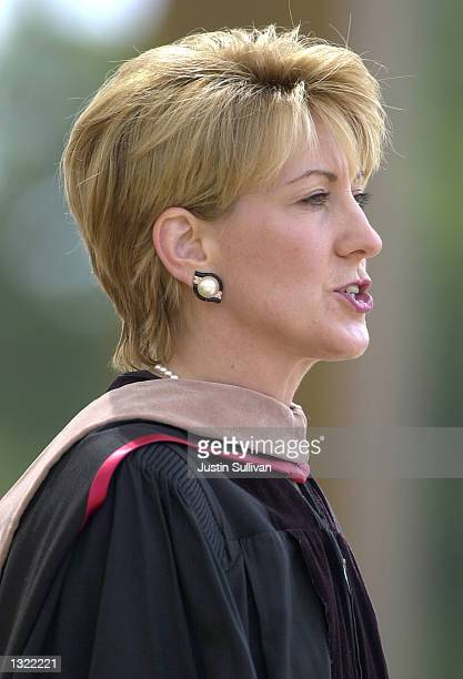 Carleton 'Carly' Fiorina chairman president and CEO of HewlettPackard Company delivers the keynote address during commencement ceremonies at Stanford...