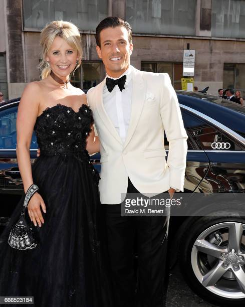 Carley Stenson and Danny Mac arrive in an Audi at the Olivier Awards at Royal Albert Hall on April 9 2017 in London England