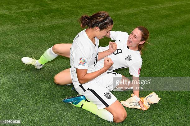 Carli Lloyd and Heather O'Reilly of USA celebrate at the final whistle of FIFA Women's World Cup 2015 Final between USA and Japan at BC Place Stadium...