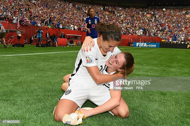 Carli Lloyd and Heather O'Reilly of USA celebrate at the final whistle the FIFA Women's World Cup 2015 Final between USA and Japan at BC Place...