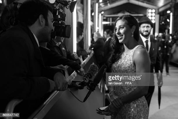 Carli Lloyd arrives on the green carpet for The Best FIFA Football Awards at The London Palladium on October 23 2017 in London England