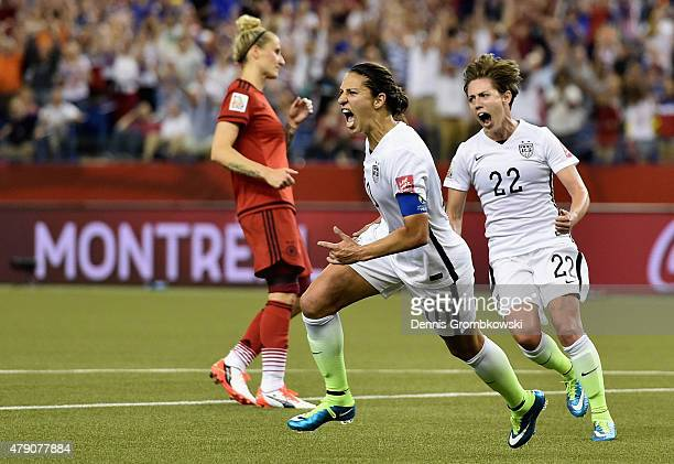 Carli Lloyd of Germany reacts as she scores the opening goal in the FIFA Women's World Cup 2015 SemiFinal Match at Olympic Stadium on June 30 2015 in...