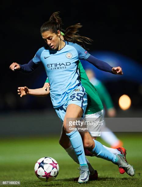 Carli Lloyd of Manchester City controls the ball during the UEFA Women's Champions League match between Fortuna Hjorring and Manchester City at...