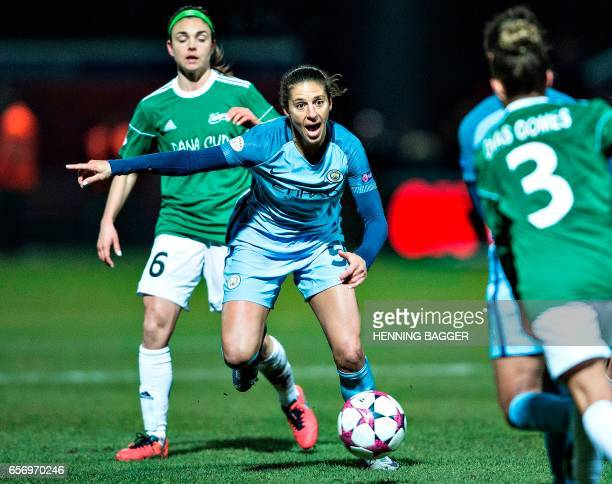 Carli Lloyd of Manchester City in action during their UEFA Women's Champion League first quarter final match against Fortuna Hjorring in Hjorring...