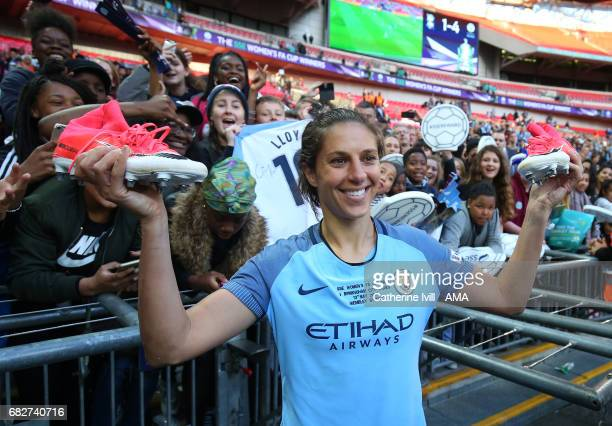 Carli Lloyd of Manchester City Women celebrates with the fans during the SSE Women's FA Cup Final between Birmingham City Ladies and Manchester City...