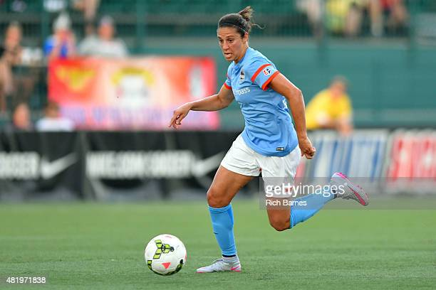 Carli Lloyd of the Houston Dash controls the ball against the Western New York Flash during the first half at Sahlen's Stadium on July 25 2015 in...