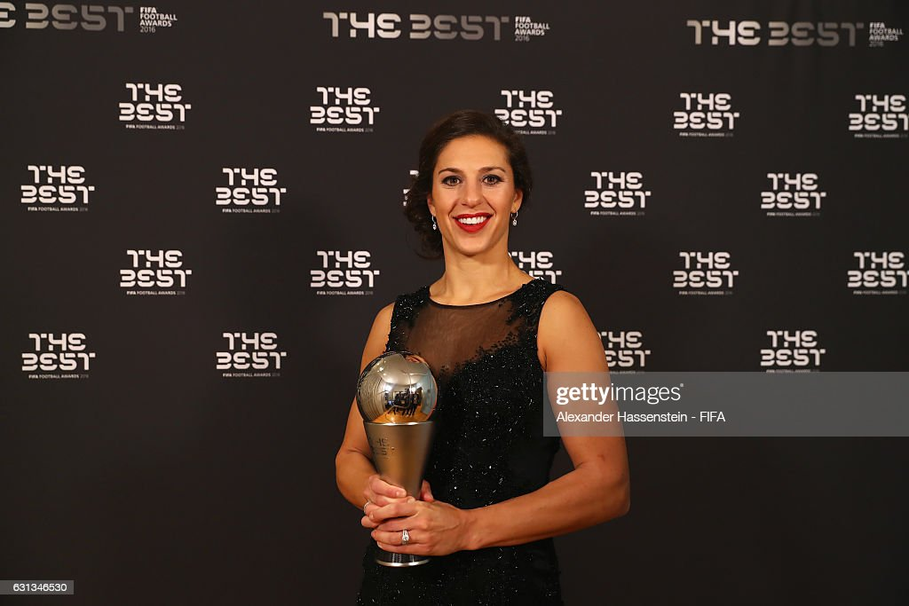 Carli Lloyd of the United States and Houston Dash poses with The Best FIFA Women's Player Award during The Best FIFA Football Awards at TPC Studio on January 9, 2017 in Zurich, Switzerland.