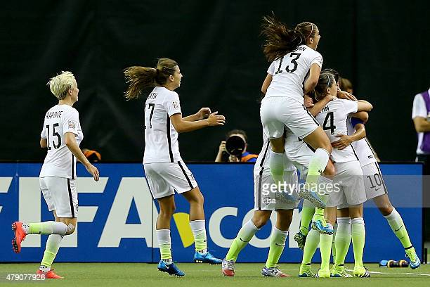 Carli Lloyd of the United States celebrates after scoring on a penalty kick for the opening goal against Germany in the FIFA Women's World Cup 2015...