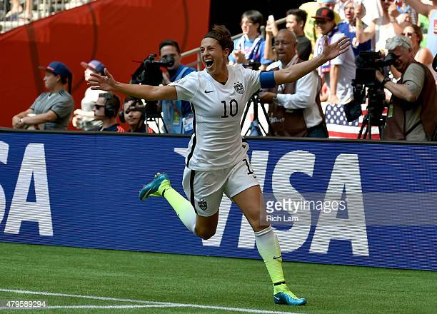 Carli Lloyd of the United States celebrates her second goal in the first half against Japan in the FIFA Women's World Cup Canada 2015 Final at BC...