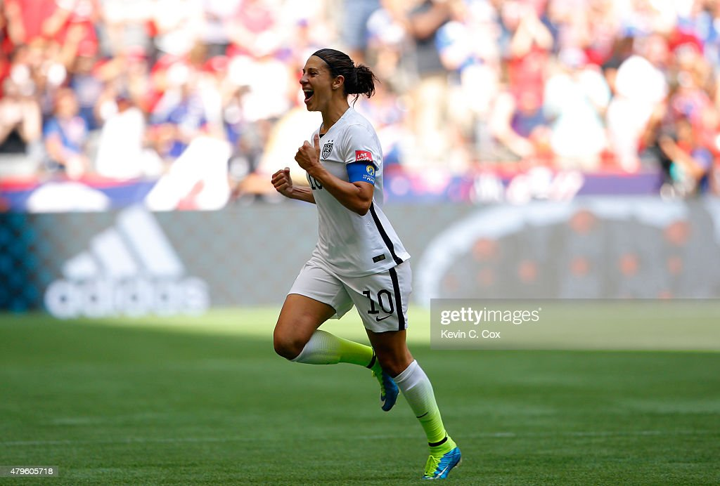 Carli Lloyd of the United States celebrates scoring the opening goal against Japan in the FIFA Women's World Cup Canada 2015 Final at BC Place...