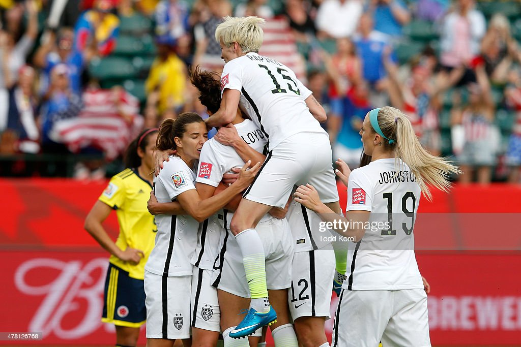 Carli Lloyd #10 of the United States celebrates with teammates after scoring a goal on a penalty kick in the second half against Colombia in the FIFA Women's World Cup 2015 Round of 16 match at Commonwealth Stadium on June 22, 2015 in Edmonton, Canada.