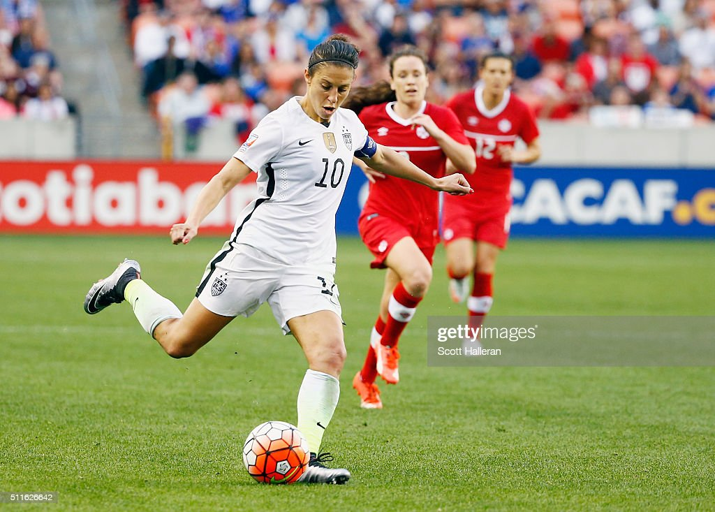 Carli Lloyd #10 of the United States in action during the first half of the game between the United States and Canada during the Championship final of the 2016 CONCACAF Women's Olympic Qualifying at BBVA Compass Stadium on February 21, 2016 in Houston, Texas.