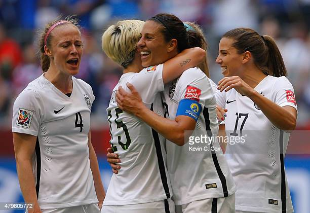 Carli Lloyd of the United States of America celebrates after her third goal against Japan with Megan Rapinoe in the FIFA Women's World Cup Canada...