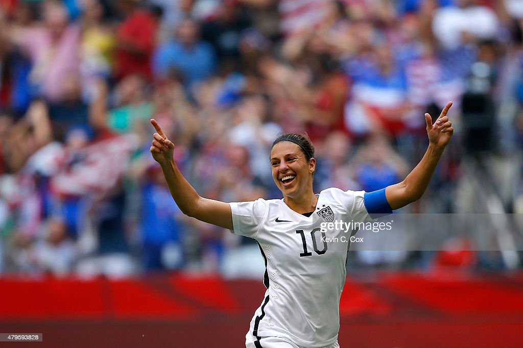 Carli Lloyd #10 of the United States reacts in the first half after scoring a goal against Japan in the FIFA Women's World Cup Canada 2015 Final at BC Place Stadium on July 5, 2015 in Vancouver, Canada.