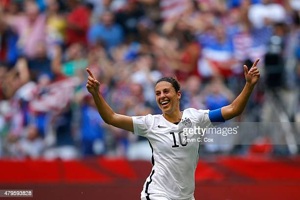 Carli Lloyd of the United States reacts in the first half after scoring a goal against Japan in the FIFA Women's World Cup Canada 2015 Final at BC...
