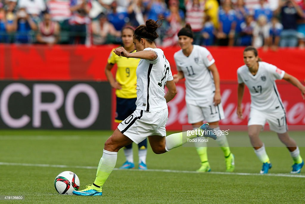 Carli Lloyd #10 of the United States scores a goal on a penalty kick in the second half against Colombia in the FIFA Women's World Cup 2015 Round of 16 match at Commonwealth Stadium on June 22, 2015 in Edmonton, Canada.