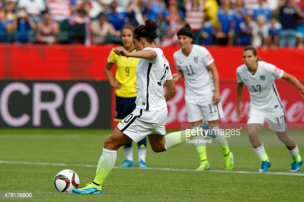 Carli Lloyd of the United States scores a goal on a penalty kick in the second half against Colombia in the FIFA Women's World Cup 2015 Round of 16...