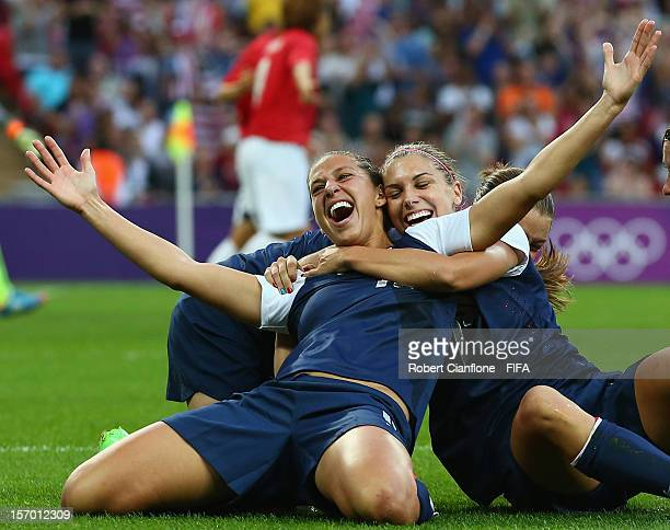 Carli Lloyd of the USA celebrates her goal during the Women's Football Final match between the USA and Japan on Day 13 of the London 2012 Olympic...