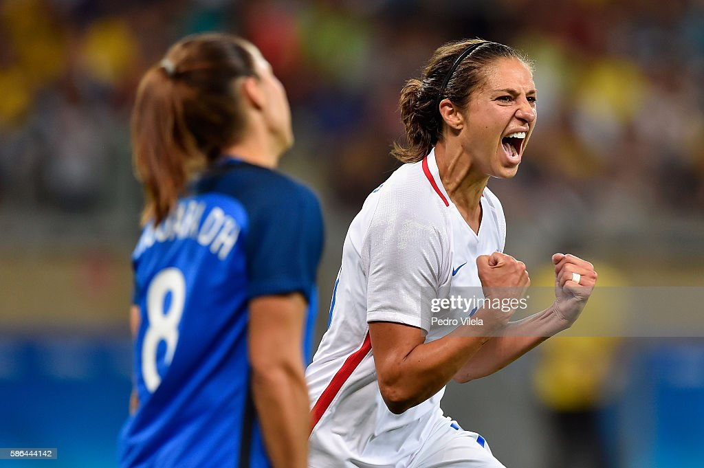 Carli Lloyd of United States celebrates after scoring during the Women's Group G first round match between United States and France during Day 1 of the Rio 2016 Olympic Games at Mineirao Stadium on August 6, 2016 in Belo Horizonte, Brazil.
