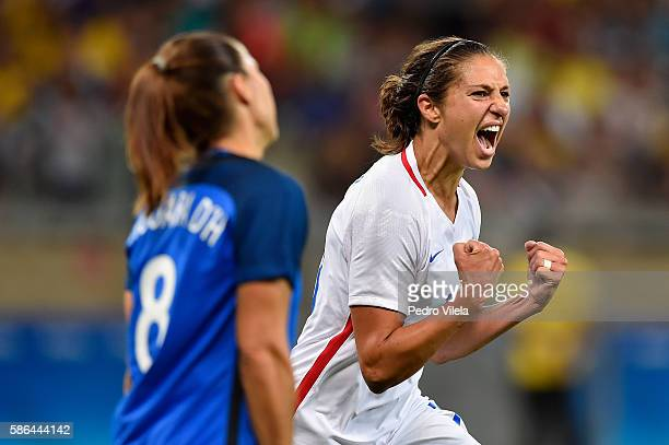 Carli Lloyd of United States celebrates after scoring during the Women's Group G first round match between United States and France during Day 1 of...