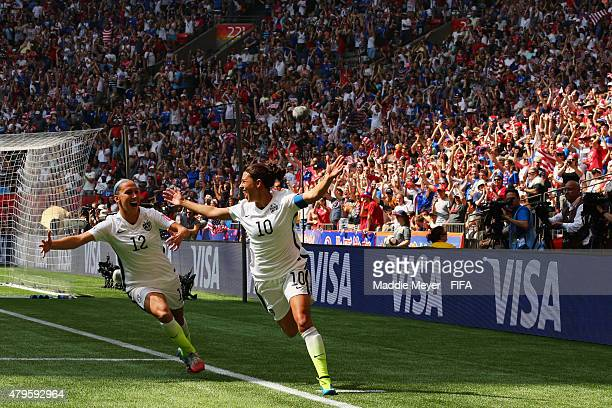 Carli Lloyd of United States of America celebrates with Lauren Holiday after scoring a goal against Japan during the FIFA Women's World Cup 2015...