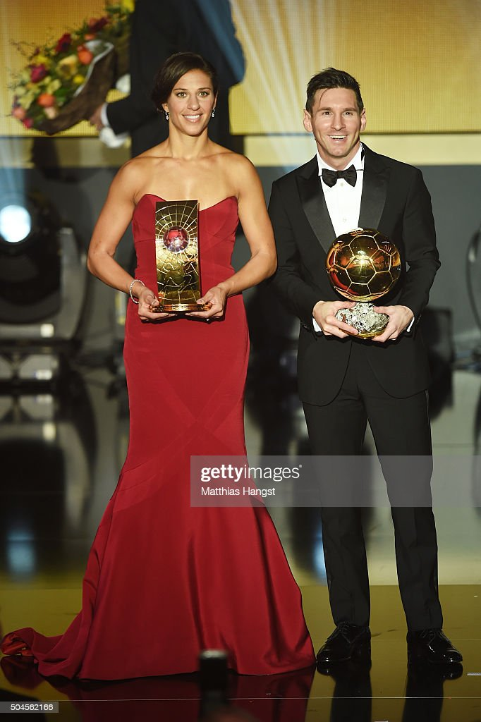 Carli Lloyd of USA and Houston Dash the recipient of the FIFA Women's World Player of the Year Award and Lionel Messi of Argentina and FC Barcelona recipient of the Ballon d'or pose during the FIFA Ballon d'Or Gala 2015 at the Kongresshaus on January 11, 2016 in Zurich, Switzerland.