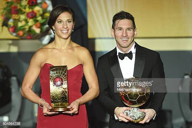 Carli Lloyd of USA and Houston Dash the recipient of the FIFA Women's World Player of the Year Award and Lionel Messi of Argentina and FC Barcelona...