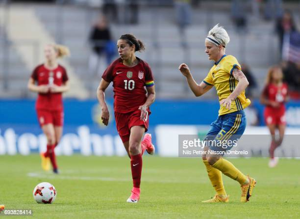 Carli Lloyd of USA and Nilla Fischer of Sweden during the international friendly between Sweden and USA at Ullevi Stadium on June 8 2017 in...
