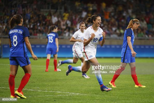 Carli Lloyd of USA celebrates after scoring her team's firts goal during Women's Group G match between USA and France on Day 1 of the Rio2016 Olympic...