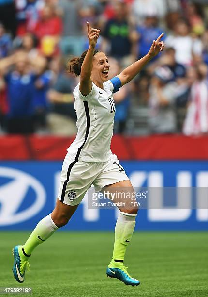 Carli Lloyd of USA celebrates scoring her third goal during the FIFA Women's World Cup Final between USA and Japan at BC Place Stadium on July 5 2015...