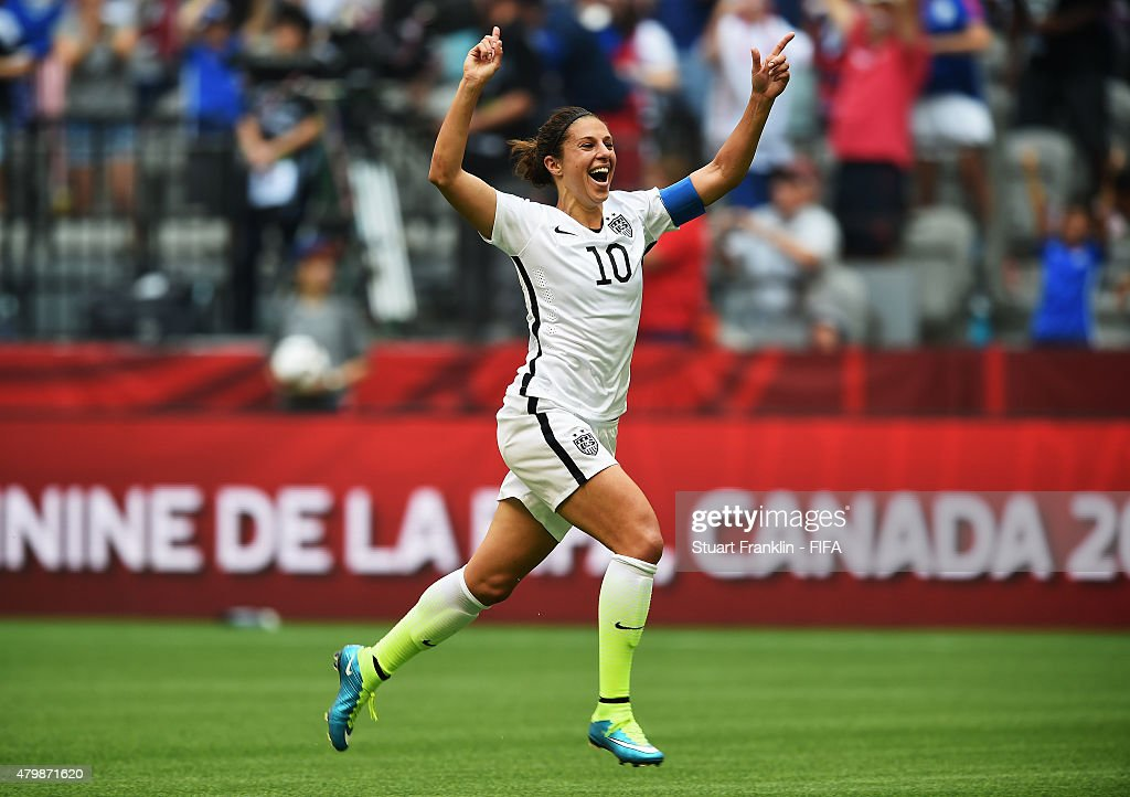 Carli Lloyd of USA celebrates scoring her third goal from the halfway line during the FIFA Women's World Cup Final between USA and Japan at BC Place Stadium on July 5, 2015 in Vancouver, Canada.