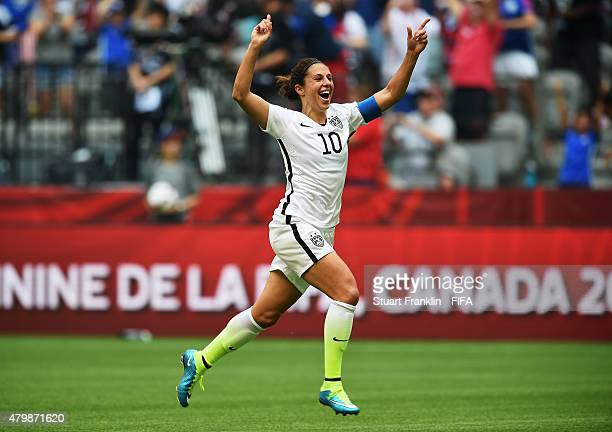 Carli Lloyd of USA celebrates scoring her third goal from the halfway line during the FIFA Women's World Cup Final between USA and Japan at BC Place...