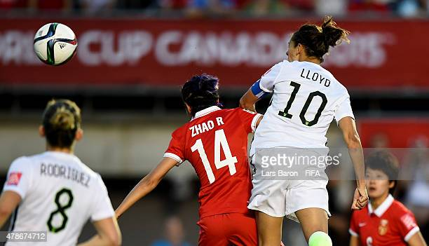 Carli Lloyd of USA heads her teams first goal during the FIFA Women's World Cup 2015 Quarter Final match between China and United States at Lansdowne...