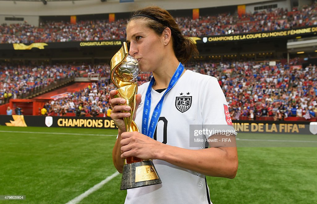 Carli Lloyd of USA holds the EWinner's Trophy after the FIFA Women's World Cup 2015 Final between USA and Japan at BC Place Stadium on July 5, 2015 in Vancouver, Canada.