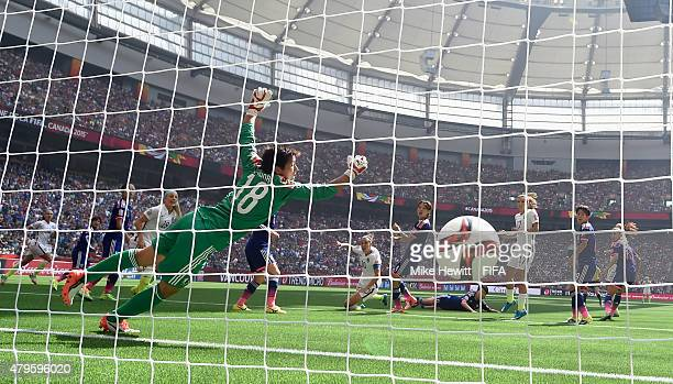 Carli Lloyd of USA scores her team's first goal despite the efforts of Japan goalkeeper Ayumi Kaihori during FIFA Women's World Cup 2015 Final...