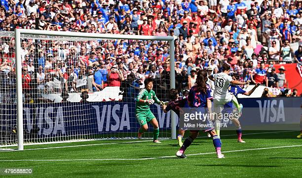 Carli Lloyd of USA scores her team's second goal during FIFA Women's World Cup 2015 Final between USA and Japan at BC Place Stadium on July 5 2015 in...