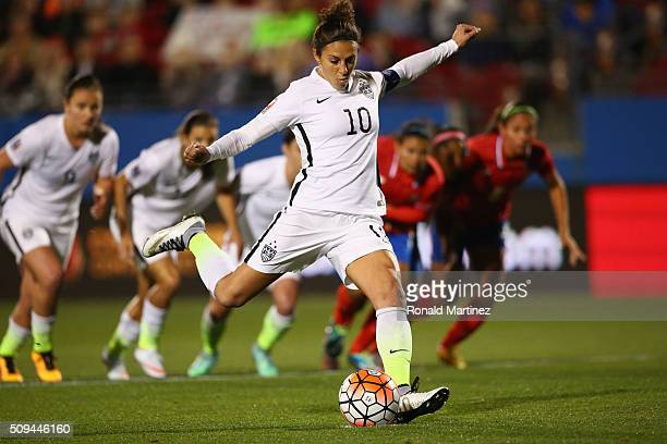 Carli Lloyd of USA scores on a penalty kick against Costa Rica during 2016 CONCACAF Women's Olympic Qualifying at Toyota Stadium on February 10 2016...
