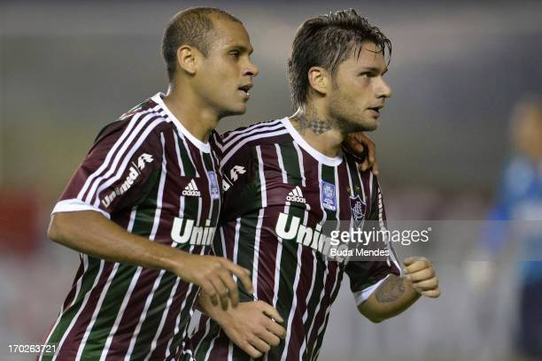 Carlinhos and Rafael Sobis of Fluminense celebrates a scored goal during the match between Fluminense and Goias a as part of Brazilian Championship...
