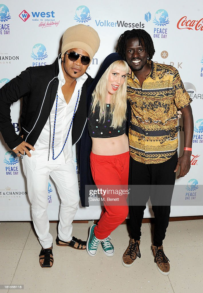 Carlinhos Brown, Natasha Bedingfield and Emmanuel Jal celebrate 'Peace One Day' at the Peace One Day concert after party held at the Hilton on September 21, 2013 in The Hague, Netherlands.